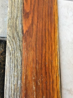 Before Sand & Stain Exterior Door Threshold