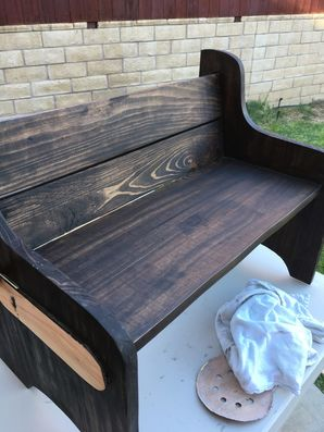 Custom bench handmade, stained and hand painted in Newhall, CA (2)