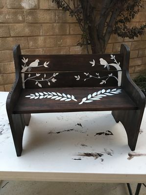 Custom bench handmade, stained and hand painted in Newhall, CA (3)