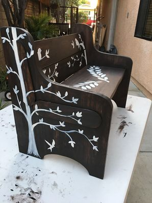 Custom bench handmade, stained and hand painted in Newhall, CA (4)